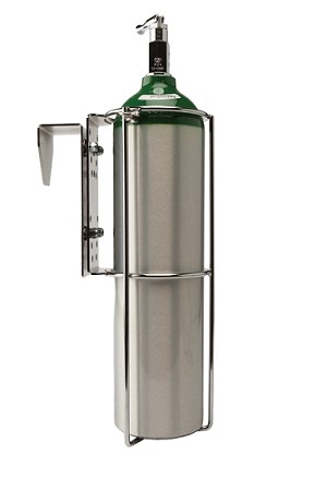 Compact D or E Oxygen Cylinder Holder for Hanging Over Headboards