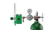 50 PSI Preset CGA 870 Oxygen Regulator (0-15 LPM Flowmeter, Chemetron Coupler With DISS Auxiliary Port)