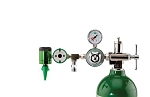 50 PSI Preset CGA 870 Oxygen Regulator (0-15 LPM Click Style Flowmeter, Ohmeda Coupler With DISS Auxiliary Port)