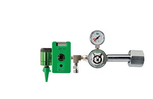 50 PSI Preset CGA 540 Oxygen Regulator (0-15 LPM Click Style Flowmeter, Chemetron Coupler and DISS Auxiliary Port)