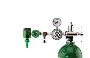 50 PSI Preset CGA 870 Oxygen Regulator (0-15 LPM Click Style Flowmeter, Puritan Bennet Coupler With DISS Auxiliary Port)