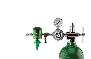 50 PSI Preset CGA 870 Oxygen Regulator (0-15 LPM Click Style Flowmeter and Dual DISS Auxiliary Ports)