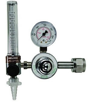 Single Stage Heliox Regulator With Flowmeter CGA 280 for Large Cylinder